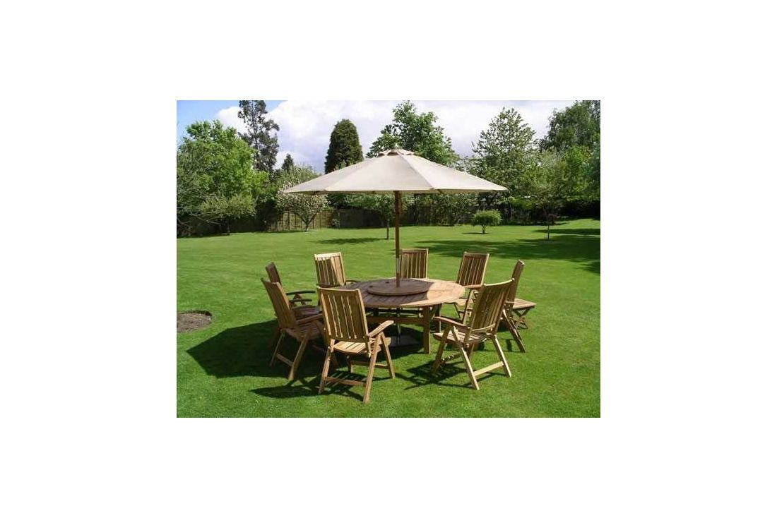 Chunky 150cm Table 6 Recliners Cushions Parasol Garden Furniture Portugal
