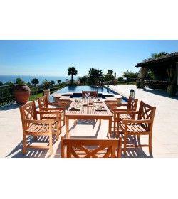 Malibu 7-piece Wood Dining Set