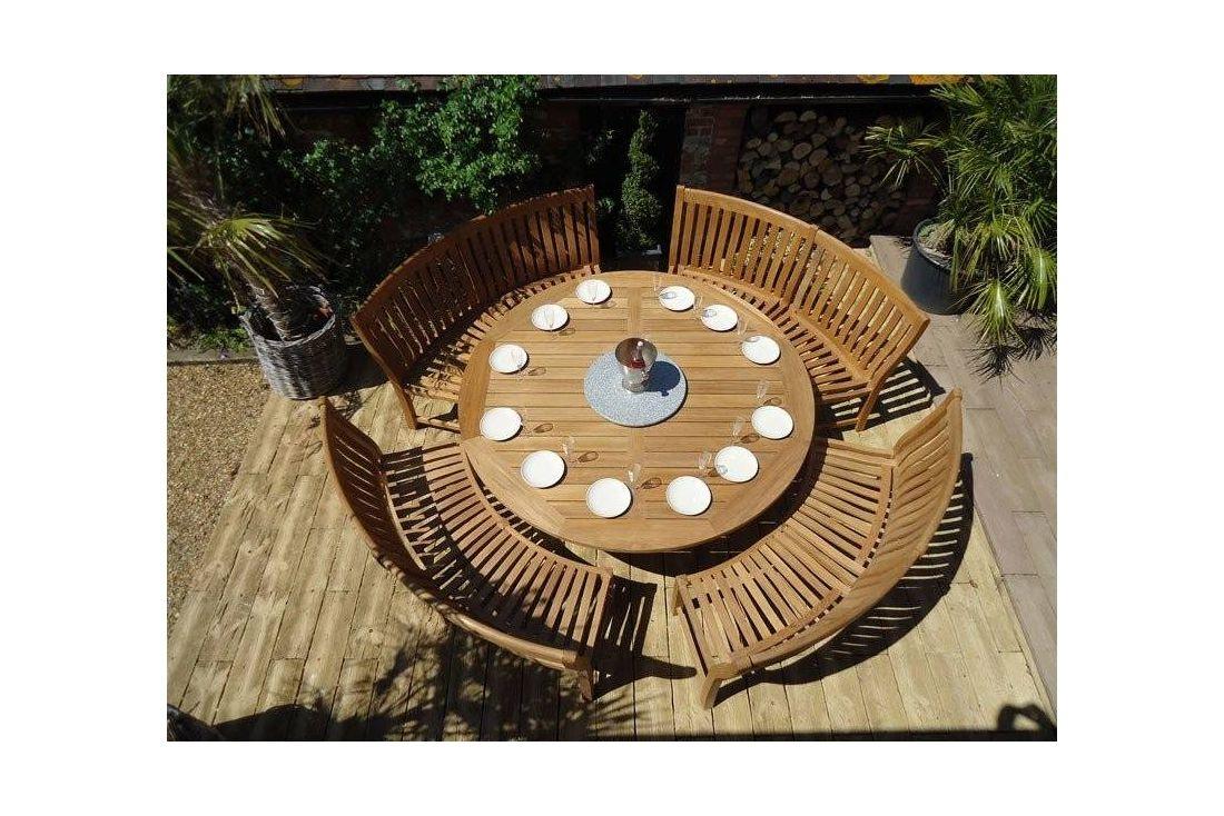 Chunky 210cm dia teak table with contour benches
