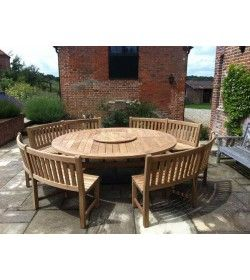 Chunky 210cm teak table with contour benches