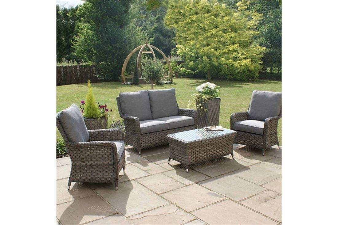 Outdoor Patio Couch Set, Victoria 2 Seater High Back Sofa Set Outdoor Rattan Weave