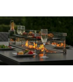Zest 8 Seat Rectangular Dining Set - With Firepit Table