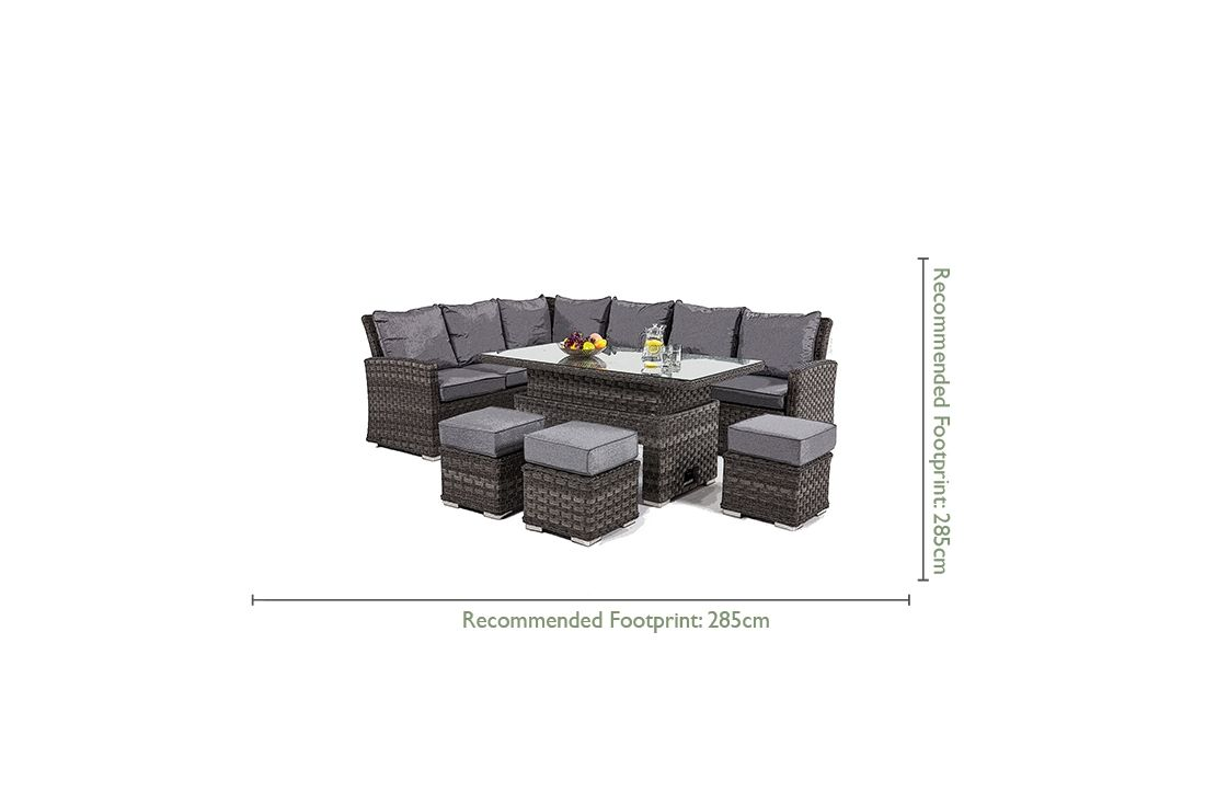 Victoria Corner Dining Set With Rising Table Outdoor Rattan Weave