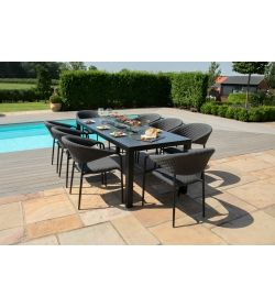 Pebble 8 Seat Rectangle Dining Firepit