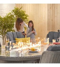 Thalia 8 Seat Oval Dining Set  Firepit