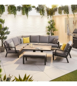 Vogue Corner Sofa Set with Rising Table, Armchair & Bench