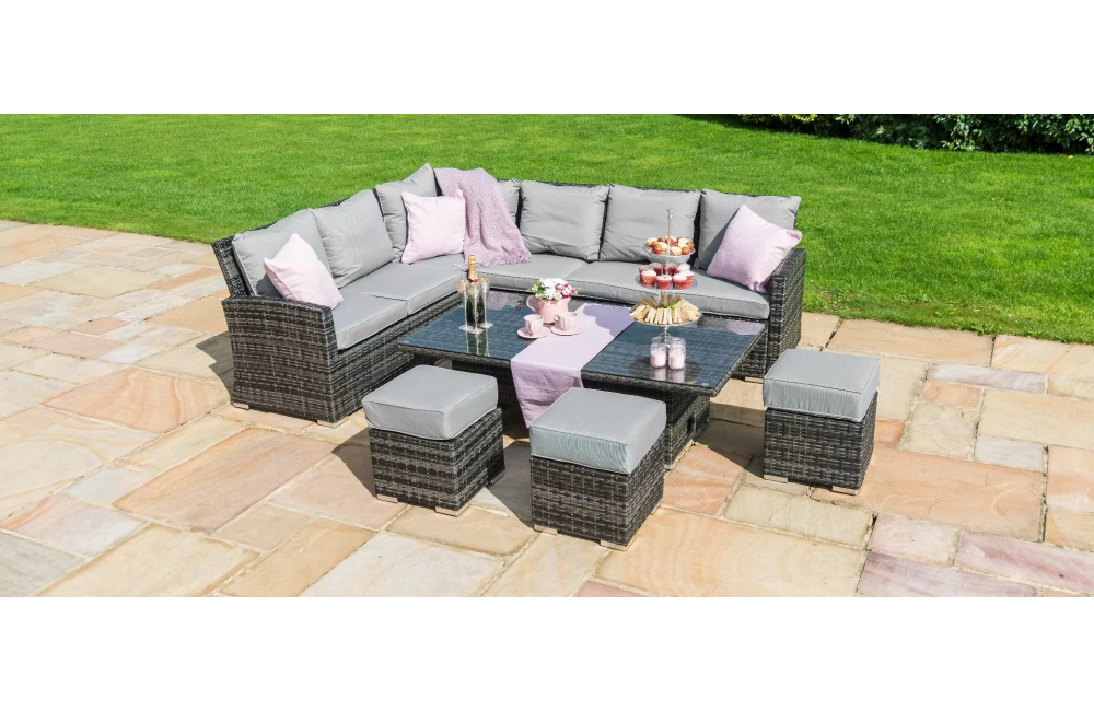 Kingston Corner Dining Set with Adjustable Table outdoor ...