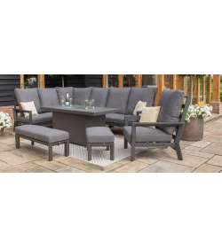 Manhattan Reclining Corner Dining Set - Fire Pit Table & Armchair