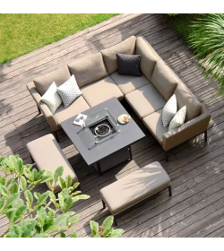 Pulse Square Corner Dining Set - With Fire pit Table