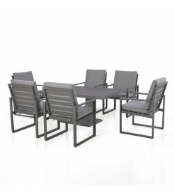 Amalfi 6 Seat Rectangular Dining Set - With Rising Table