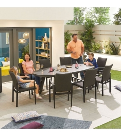 Hugo Outdoor Fabric 8 Seat Oval Dining Set