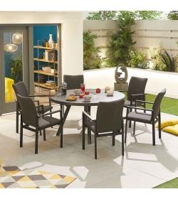 Hugo Outdoor Fabric 6 Seat Round Dining Set
