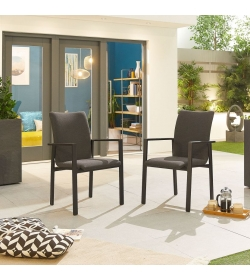 Hugo Outdoor Fabric 8 Seat Round Dining Set with Firepit Table