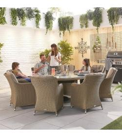 Camilla 8 Seat Dining Set - 1.8m Round Table