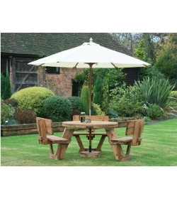 Round Picnic Table With Backrests 8 Seater   FSC® Certified