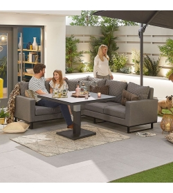Compact Eclipse Outdoor Fabric Casual Dining Set with Rising Table