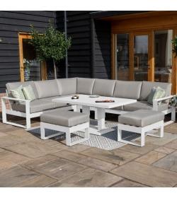 Amalfi Large Corner Dining Set - With Rising Table & Footstools
