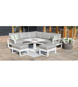 Amalfi Square Corner Dining Set - With Rising Table & Footstools