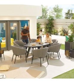 Edge Fabric 6 Seat Oval Dining Set
