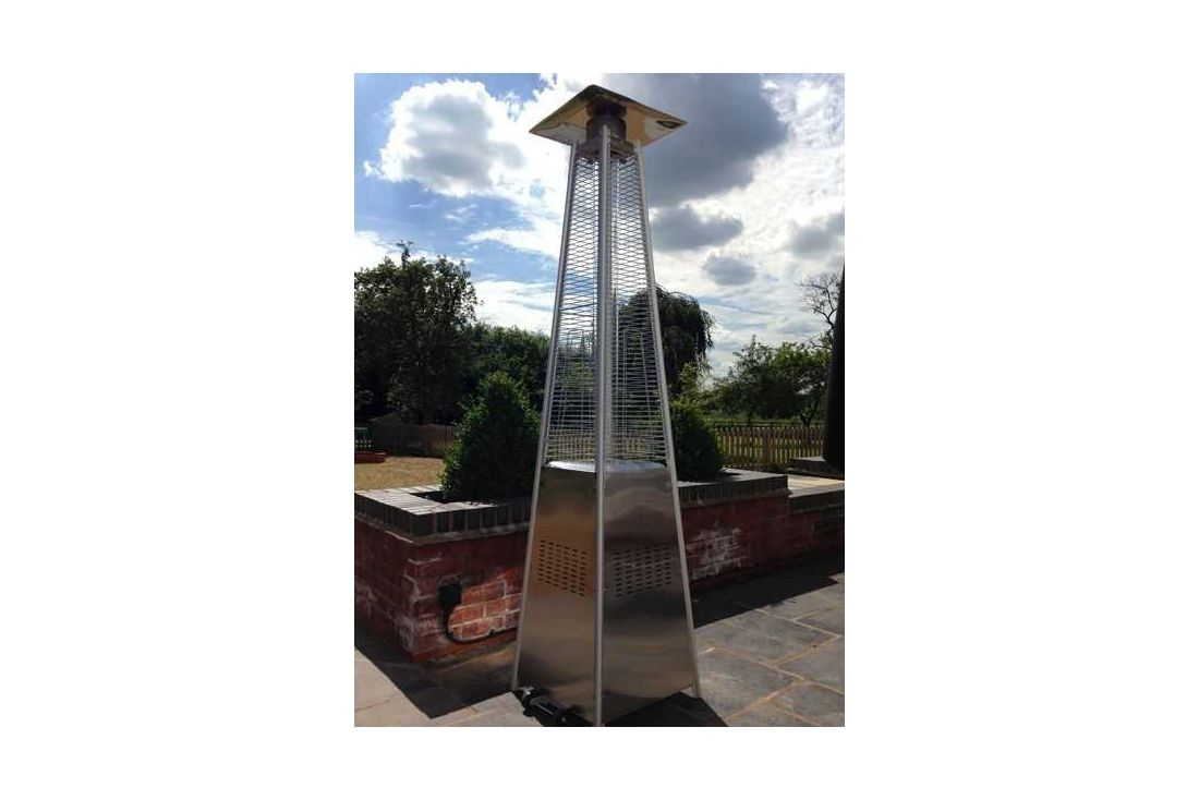 Stainless Steel Flame Gas Patio Heater & Free Weather Cover