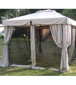 300cm x 300cm hardwood riveria gazebo with mosquito nets