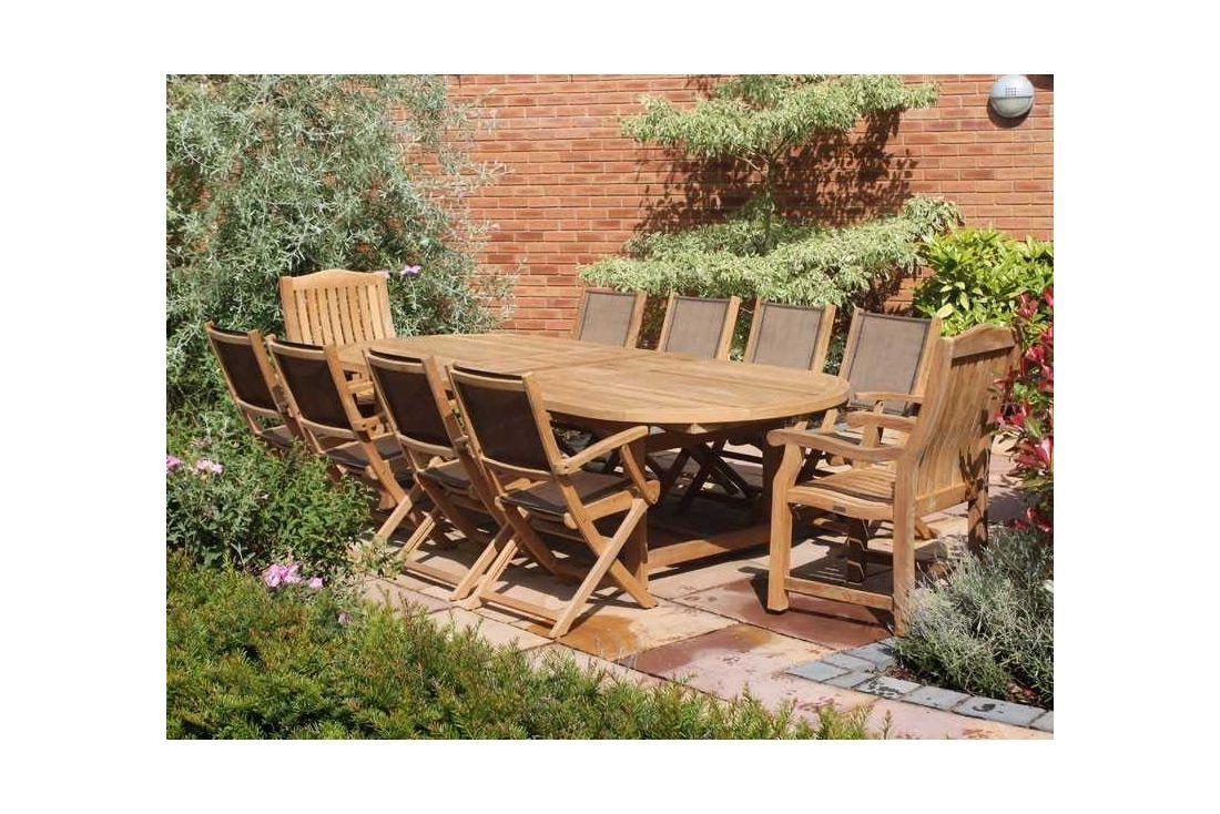Teak 3m Oval Table & TNT Chair Set
