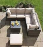 Med rattan corner sofa sets